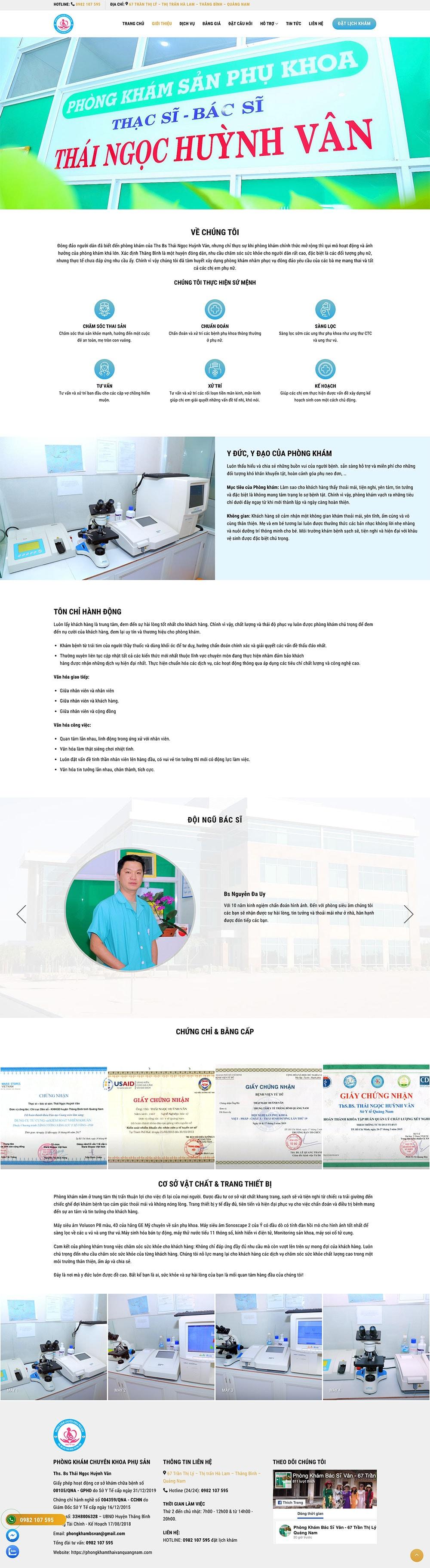 thiet ke website dich vu phong kham san phu khoa